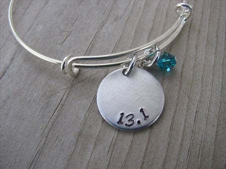 "Half Marathon Bracelet- hand-stamped ""13.1""   - Hand-Stamped Bracelet- Adjustable Bangle Bracelet with an accent bead of your choice"