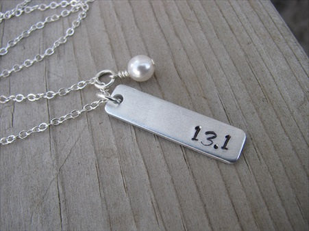 "Half Marathon Necklace- ""13.1""- Hand-Stamped Necklace with an accent bead of your choice"