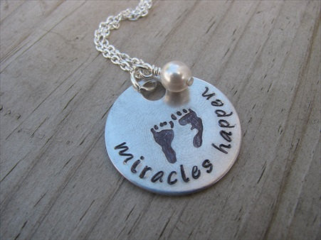 "Expectant Mother Necklace, Baby Shower Gift- hand-stamped footprints, with ""miracles happen"" - Hand-Stamped Necklace with an accent bead in your choice of colors"