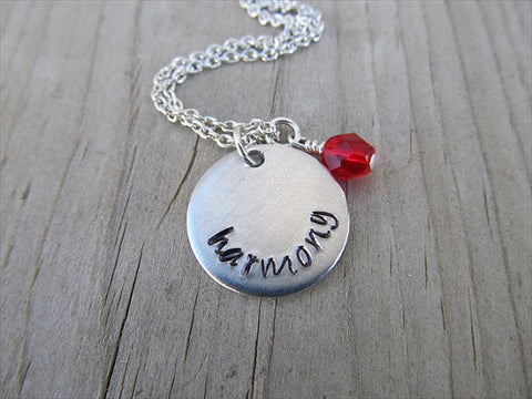 "Harmony Inspiration Necklace- ""harmony"" - Hand-Stamped Necklace with an accent bead in your choice of colors"