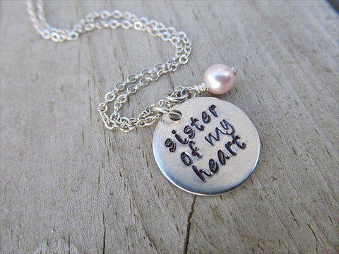 "Sister of my Heart Necklace- Best Friend Necklace, Cousin Necklace ""sister of my heart"" - Hand-Stamped Necklace with an accent bead of your choice"