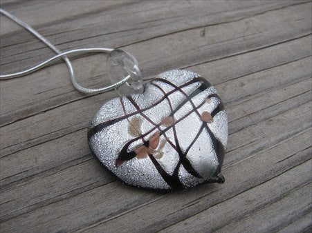 Glass Heart Necklace- Black and Silver Glass Heart Pendant with Chain