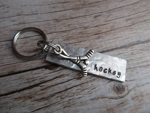 "Hockey Keychain- with name of your choice or ""hockey"" with hockey charm- Keychain- Small, Textured, Rectangle Key Chain"