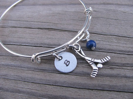 Hockey Charm Bracelet- Adjustable Bangle Bracelet with an Initial Charm and an Accent Bead in your choice of colors