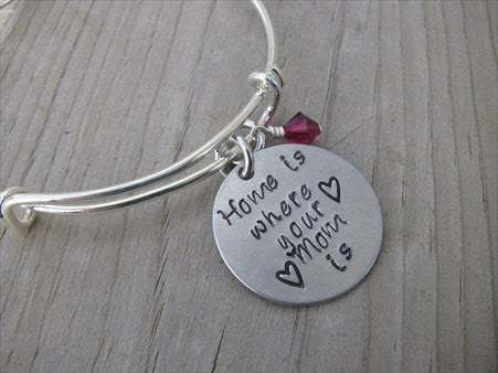 "Mother's Bracelet- ""Home is where your Mom is"" with stamped hearts  - Hand-Stamped Bracelet- Adjustable Bangle Bracelet with an accent bead of your choice"