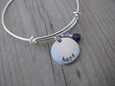 "Hope Inspiration Bracelet- ""hope""  - Hand-Stamped Bracelet  -Adjustable Bangle Bracelet with an accent bead of your choice"