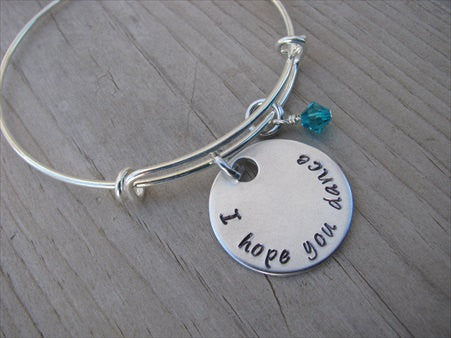 "I Hope You Dance Bracelet- ""I hope you dance"" - Hand-Stamped Bracelet- Adjustable Bangle Bracelet with an accent bead of your choice"