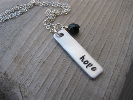 "Hope Inspiration Necklace ""hope""- Hand-Stamped Necklace with an accent bead in your choice of colors"