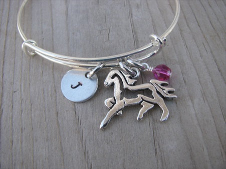Horse Charm Bracelet- Adjustable Bangle Bracelet with an Initial Charm and an Accent Bead in your choice of colors