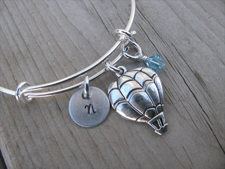 Hot Air Balloon Charm Bracelet- Adjustable Bangle Bracelet with an Initial Charm and an Accent Bead in your choice of colors