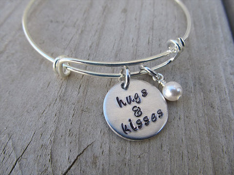 "Hugs & Kisses Bracelet- ""hugs & kisses""  - Hand-Stamped Bracelet- Adjustable Bangle Bracelet with an accent bead of your choice"