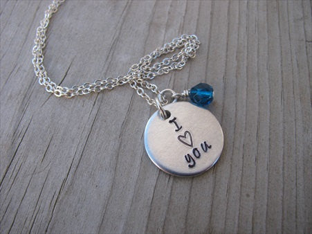 "Hand-Stamped Necklace ""I ♥ you"" , accent bead of your choice- Gift for Wife, Girlfriend, Mom, Grandma, Aunt, Friend, etc."