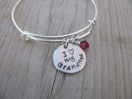 "Grandmother's Bracelet- ""I ♥ my Grandma""  - Hand-Stamped Bracelet  -Adjustable Bangle Bracelet with an accent bead of your choice"