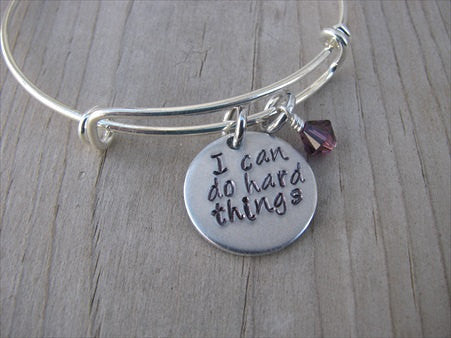 "Inspiration Bracelet- Hand-Stamped ""I can do hard things""  - Hand-Stamped Bracelet- Adjustable Bangle Bracelet with an accent bead of your choice"