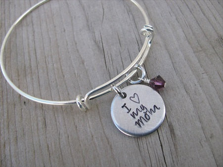 "Mother's Bracelet - ""I ♥ my Mom"" Bracelet-  Hand-Stamped Bracelet- Adjustable Bangle Bracelet with an accent bead of your choice"