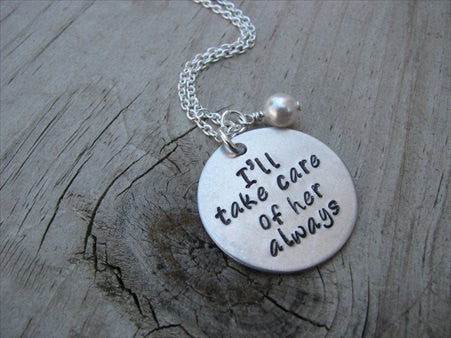 "Mother in Law Necklace- ""I'll take care of her always""- Hand-Stamped Necklace with an accent bead in your choice of colors"