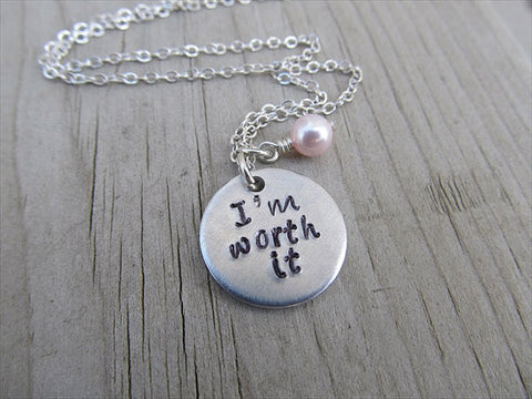 "I'm Worth It Inspiration Necklace- ""I'm worth it""- Hand-Stamped Necklace with an accent bead in your choice of colors"