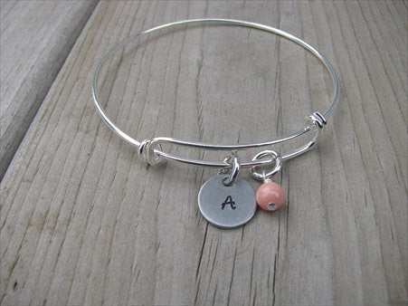 Personalized Initial Bracelet- Adjustable Bangle Bracelet with an Initial Charm and an Accent Bead in your choice of colors