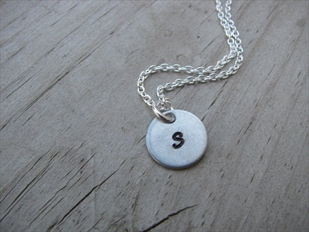 Personalized Initial Necklace- Hand-stamped initial- 1/2 inch pendant- you choose the initial