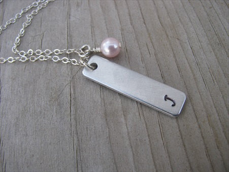 Initial Necklace-brushed silver rectangle with an initial of your choice -Hand-Stamped Necklace with an accent bead of your choice