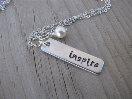 "Inspiration Necklace-""inspire"" - Hand-Stamped Necklace with an accent bead in your choice of colors"