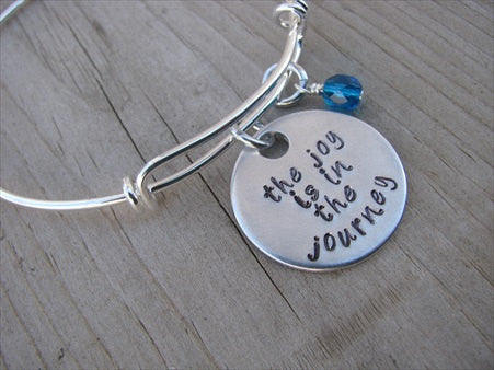 "The Joy Is In The Journey Inspiration Bracelet- ""the joy is in the journey"" Bracelet-  Hand-Stamped Bracelet- Adjustable Bangle Bracelet with an accent bead of your choice"