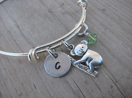 Koala Charm Bracelet- Adjustable Bangle Bracelet with an Initial Charm and an Accent Bead of your choice