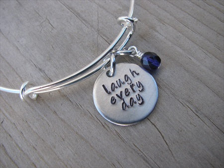 "Laugh Every Day Inspiration Bracelet- ""laugh every day""  - Hand-Stamped Bracelet-Adjustable Bracelet with an accent bead of your choice"