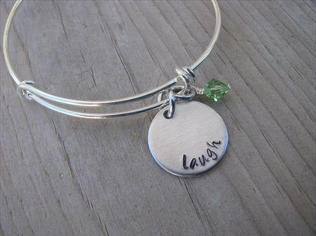 "Laugh Inspiration Bracelet- ""laugh""  - Hand-Stamped Bracelet  -Adjustable Bangle Bracelet with an accent bead of your choice"