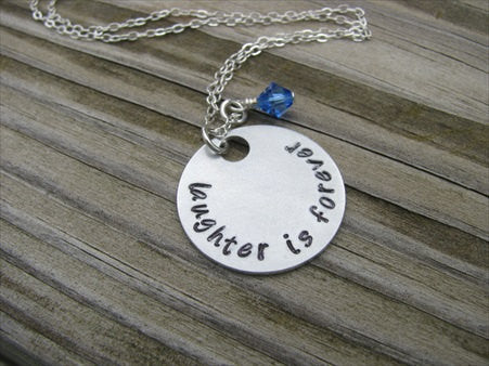 "Laughter Is Forever Inspiration Necklace- ""laughter is forever"" - Hand-Stamped Necklace with an accent bead in your choice of colors"