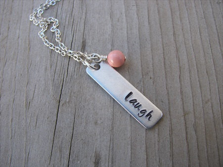 "Laugh Inspiration Necklace ""laugh""- Hand-Stamped Necklace with an accent bead in your choice of colors"