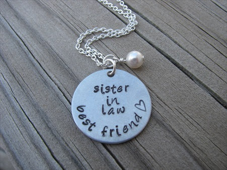 "Sister in Law Necklace- ""sister in law best friend"" with small heart - Hand-Stamped Necklace with an accent bead of your choice"
