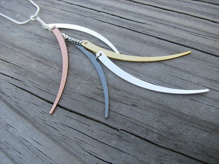 Silver, Copper, Gold, Black Dangle Necklace- Elegant, Modern Necklace-Unique Necklace