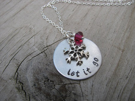 "Let It Go Necklace- ""let it go"" with a snowflake charm  - Hand-Stamped Necklace with an accent bead in your choice of colors"
