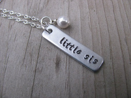 "Little Sister Necklace-brushed silver rectangle with ""little sis""- Hand-Stamped Necklace with an accent bead in your choice of colors"