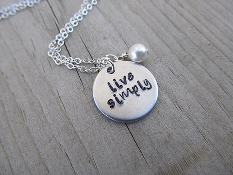 "Live Simply Inspiration Necklace- ""live simply""  - Hand-Stamped Necklace with an accent bead in your choice of colors"