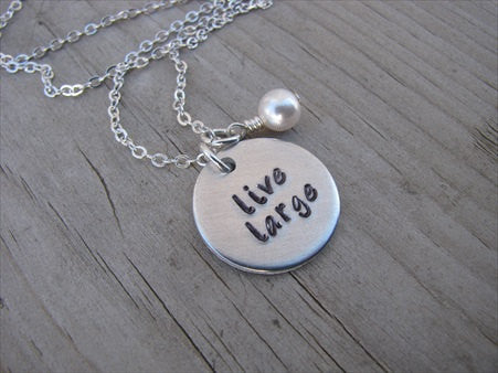 "Live Large Inspiration Necklace- ""live large"" - Hand-Stamped Necklace with an accent bead in your choice of colors"