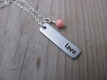 "Love Inspiration Necklace ""love""- Hand-Stamped Necklace with an accent bead in your choice of colors"