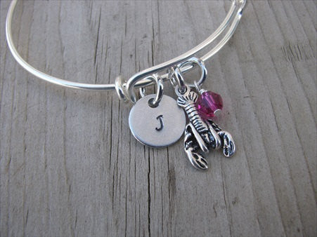 Lobster Charm Bracelet- Adjustable Bangle Bracelet with an Initial Charm and an Accent Bead in your choice of colors