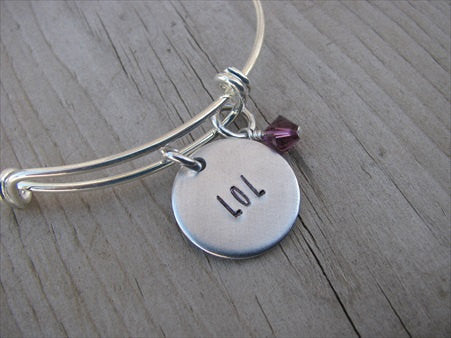 "Laugh Out Loud Bracelet- ""LOL""  - Hand-Stamped Bracelet- Adjustable Bangle Bracelet with an accent bead of your choice"