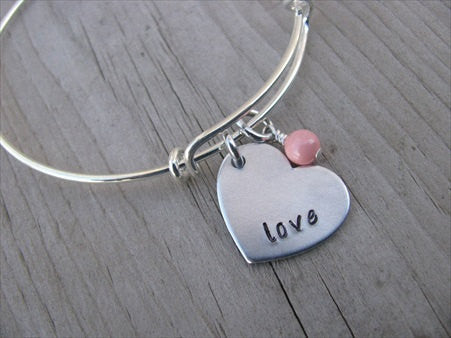 "Love Heart Bracelet- Hand-Stamped heart with ""love""- Hand-Stamped Bracelet -Adjustable Bangle Bracelet with an accent bead of your choice"