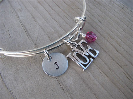 Love Charm Bracelet- Adjustable Bangle Bracelet with an Initial Charm and an Accent Bead in your choice of colors