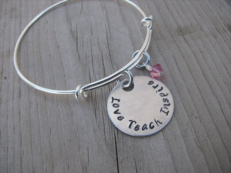 "Teacher's Bracelet- ""Love Teach Inspire"" Bracelet-  Hand-Stamped Bracelet- Adjustable Bangle Bracelet with an accent bead of your choice"