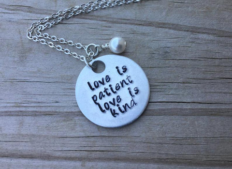 "Love Is Patient Necklace- Hand-Stamped Necklace ""love is patient love is kind"" and with an accent bead in your choice of colors"