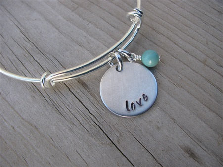 "Love Inspiration Bracelet- ""love""  - Hand-Stamped Bracelet  -Adjustable Bangle Bracelet with an accent bead of your choice"