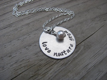 "Love Nurture Grow Inspiration Necklace- ""love nurture grow"" - Hand-Stamped Necklace with an accent bead in your choice of colors"