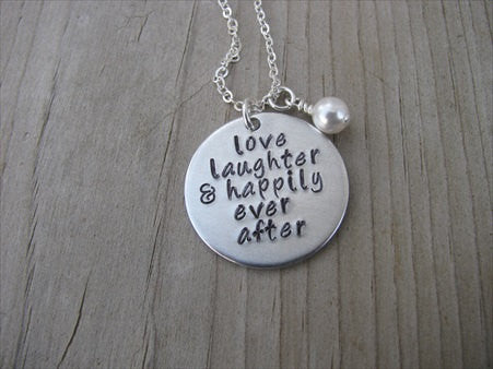 "Wedding/Anniversary Necklace- ""love laughter & happily ever after"" - Hand-Stamped Necklace with an accent bead of your choice"