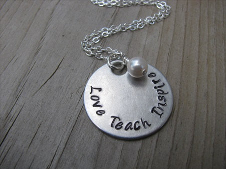 "Teacher's Necklace ""Love Teach Inspire""- Hand-Stamped Necklace with an accent bead of your choice"