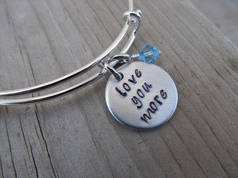 "Love You More Bracelet- ""love you more""  - Hand-Stamped Bracelet- Adjustable Bangle Bracelet with an accent bead in your choice of colors"