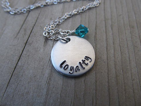 "Loyalty Inspiration Necklace- ""loyalty""- Hand-Stamped Necklace with an accent bead in your choice of colors"